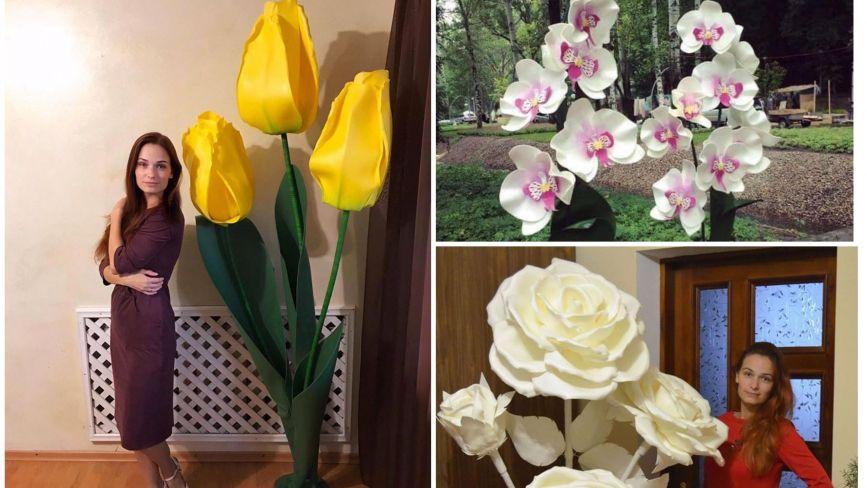 Двометрові тюльпани та троянди-торшери: майстриня з Тернопільщини створює унікальні квіти з ізолону