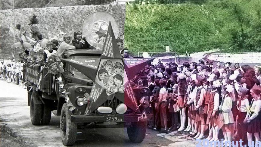 Як у Тернополі проходили помпезні паради та «живий ланцюг». Ми пофарбували старі фото