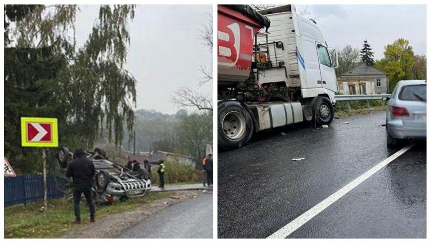 Потрійна аварія на Чортківщині: мікроавтобус перекинувся, молоду жінку швидка забрала в реанімацію