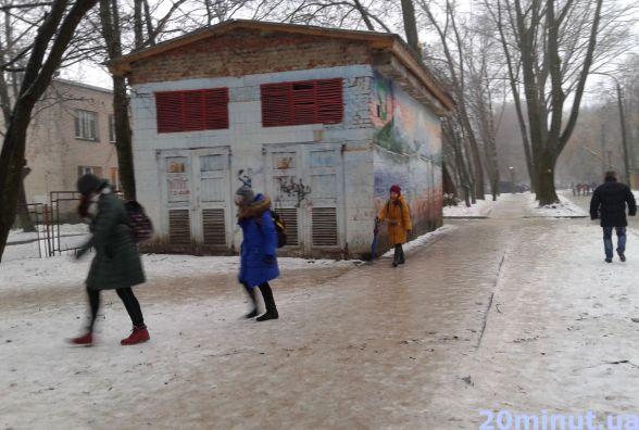 Зранку Тернопіль перетворився на ковзанку