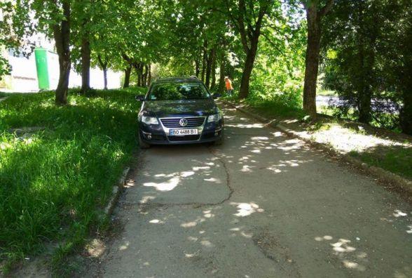Тернополянин залишив автівку в тіні на газоні (ФОТОФАКТ)