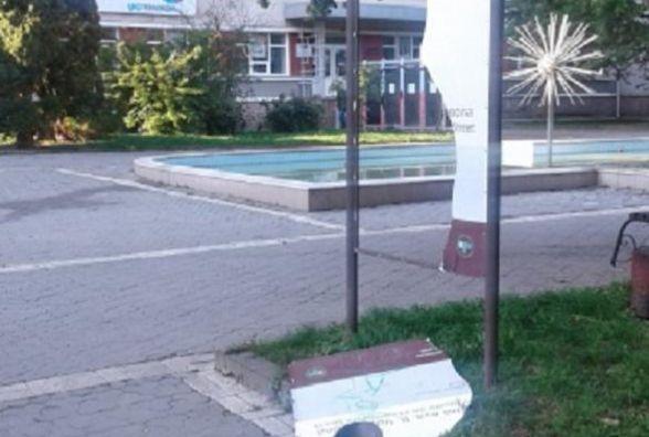 Показали відео, як вандали у центрі Тернополя ламають інформаційну дошку