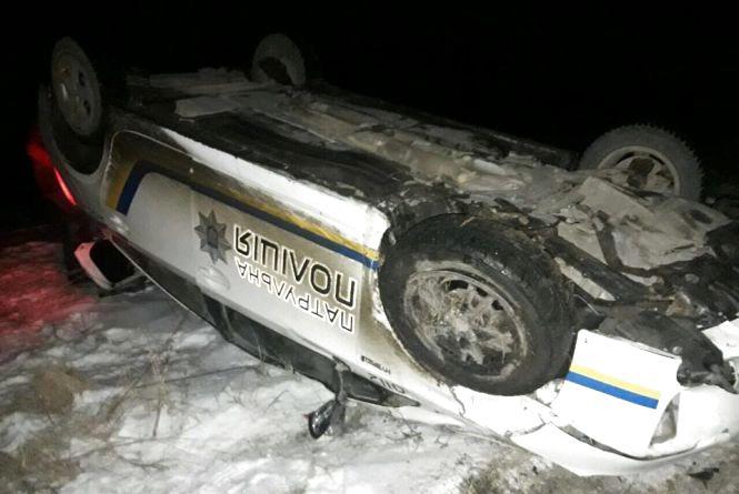 На Тернопільщині перекинувся автомобіль патрульної поліції