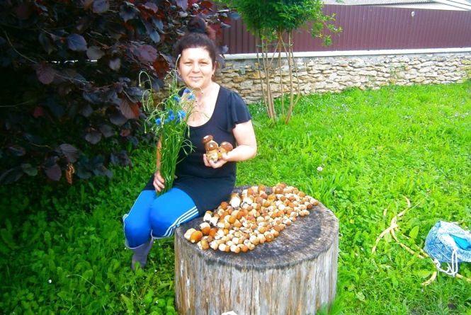 Фото дня: на Тернопільщині жінка назбирала майже дві сотні білих грибів