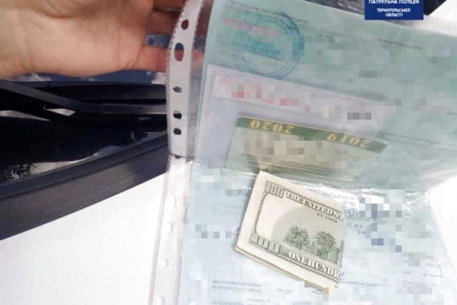 На Тернопільщині п'яний водій наполегливо пропонував поліцейським 100 доларів хабара