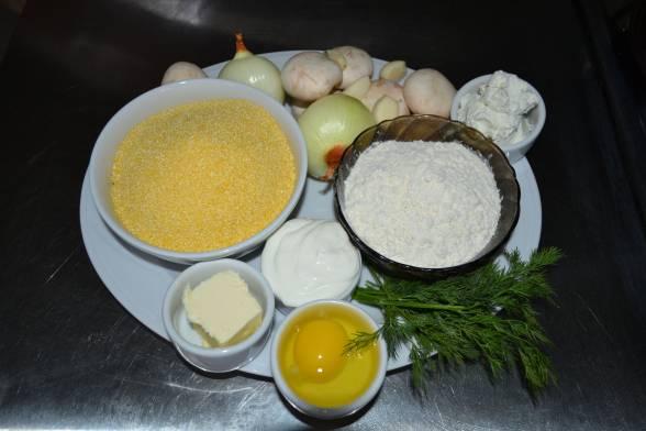 Почистити цибулю, часник і гриби, підготувати решту продуктів